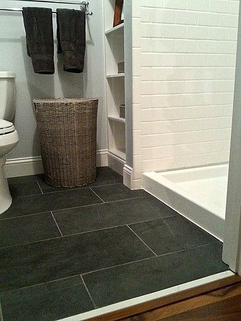 Montauk Black Slate Floor with Subway Tile Shower