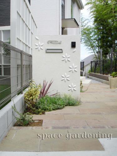 門柱 塗り壁 タイル オンリーワン フラワーサークル