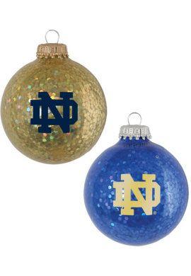 University of Notre Dame Christmas Ornament Sparkle Ball Glitter