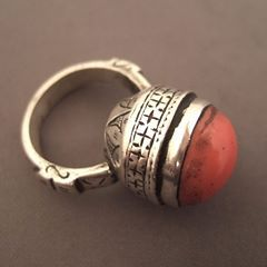 """Silver, coral, Yemen   Description :  This old ring from Yemen talks about love yemeni people devote to coral; the body of the ring is nicely worked...  Size:7,5 adaptable  Weight:17,60gr  Till for sale in my Gallery at 28, Galerie du Roi at 1000 Brussels or on my site www.halter-ethnic.com under the item """"Rings"""""""