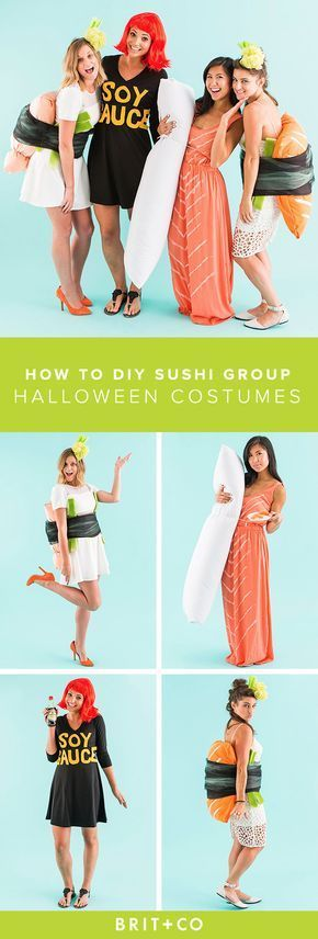 Use this tutorial to DIY sushi costumes for the whole gang this Halloween. Talk about #SquadGoals. #besthalloweencostumes
