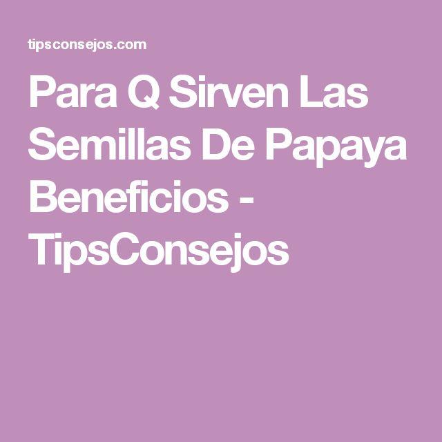 Para Q Sirven Las Semillas De Papaya Beneficios - TipsConsejos