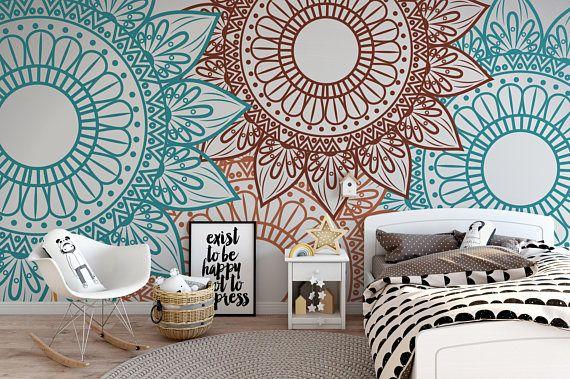 Removable Wallpaper Wallpaper Mandala Removable Wallpaper Etsy Removable Wallpaper Wall Wallpaper Simple Wallpapers