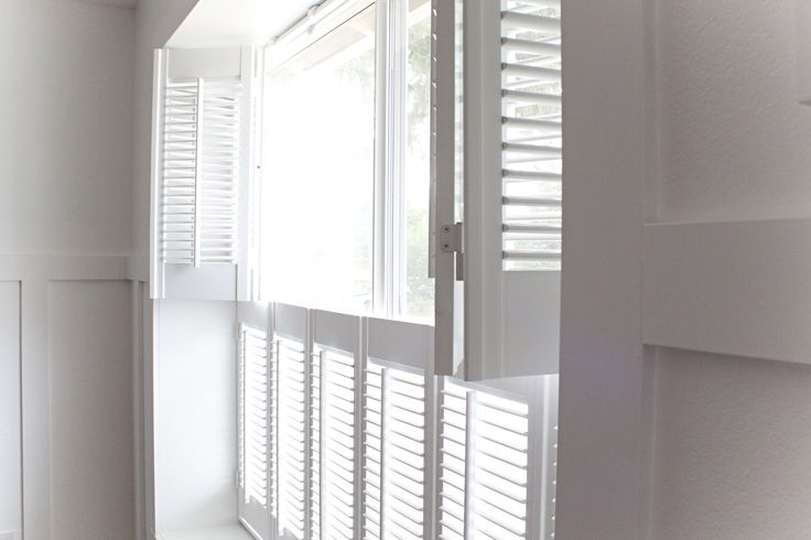 These cottage shutters are double hung, so they can be opened from the top and bottom separately. This allows you to let in light at the top and keep privacy at the bottom.