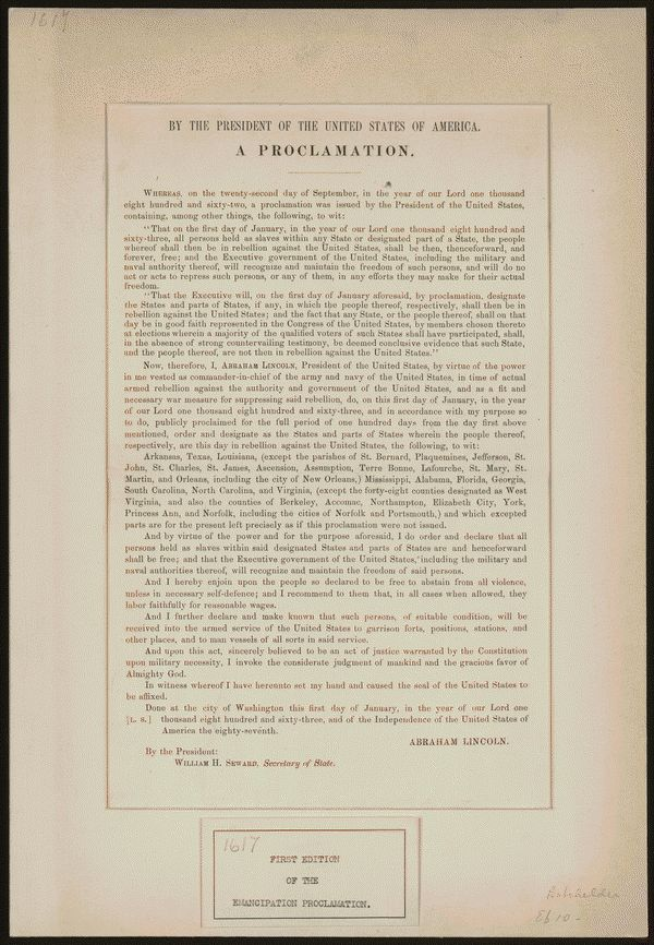 [First edition of the emancipation proclamation.]