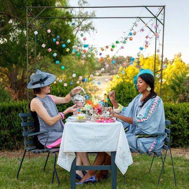 Geometric Tea Party! #geometricteaparty #gardenparty #teafortwo #gypset #aussiesummer #burnbank #australia #waggawagga