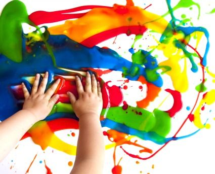 Homemade finger paint recipe. All you need is corn starch, dish soap, and sugar...can literally make a huge batch for pennies. I couldn't believe how easy this was to make!!! Perfect gift idea...