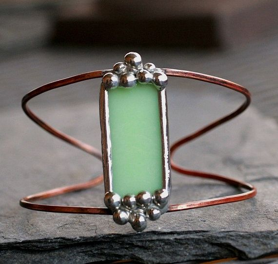 copper cuff bracelet mint green stained glass jadeite copper heat patina boho…