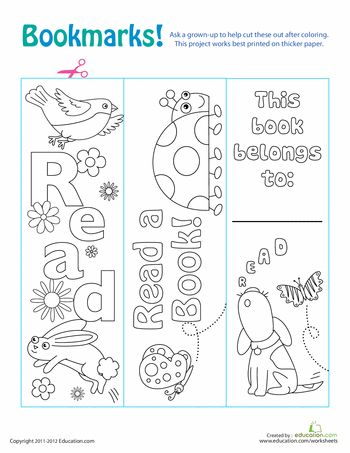 Worksheets: Color Your Own Bookmarks!