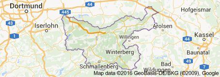 Map of Hochsauerlandkreis