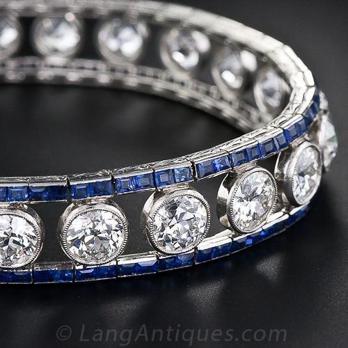 French Art Deco Diamond and Sapphire Bracelet - 40-1-1158 - Lang Antiques