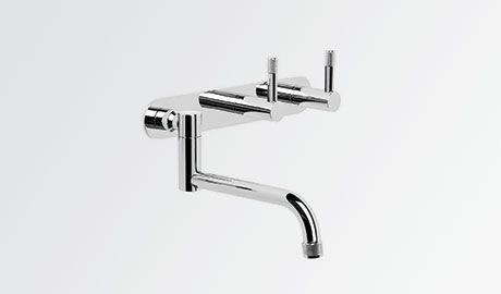 1.9329.02.7.01 Brodware Special Finish Tapware Wall Set With 210MM Swivel Spout, Backplate,Installation Kit and Knurled Levers
