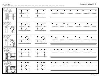 Handwriting Numbers 11-15