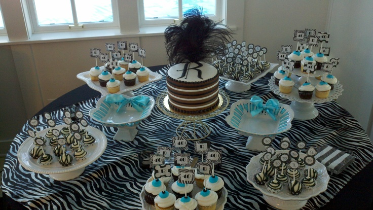 Black and white pops to go with the 40th birthday party for B day party decoration ideas