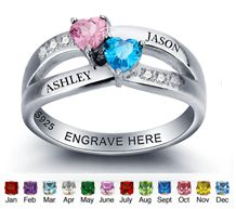 Stunning personalized names & Birthstones rings from Charis Jewelry SA.  Shop Online at www.charisjewelry.co.za #personalized jewelry #personalized #couples #rings