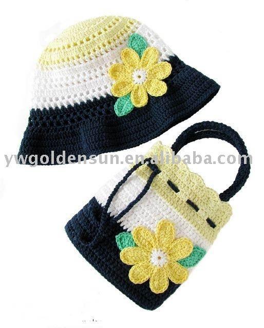 Moda crochet da bolsa de crochê e chapéu conjunto portuguese.alibaba.com