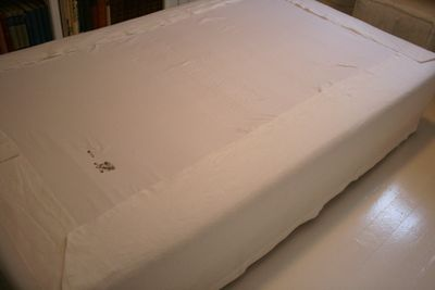 make your own bedskirt - i have a low profile box spring so none of the ones in the store will fit, they are all too long.