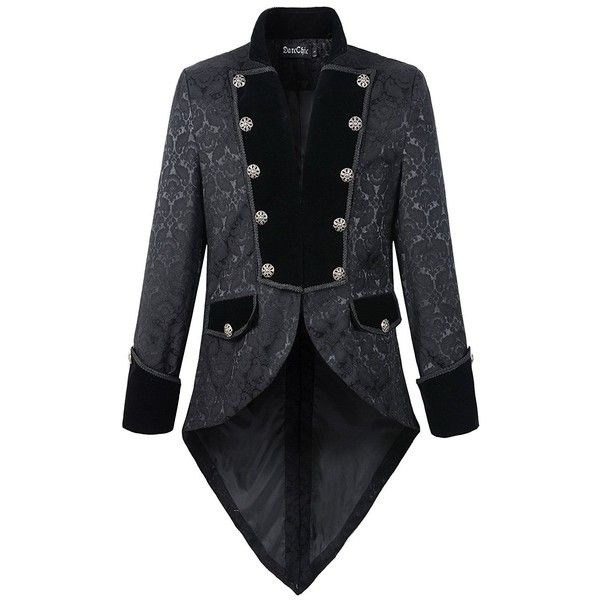 Mens Steampunk Tailcoat Jacket Velvet Gothic VTG Victorian ($26) ❤ liked on Polyvore featuring men's fashion, men's clothing, steampunk mens clothing, mens clothing, victorian mens clothing and gothic men's clothing