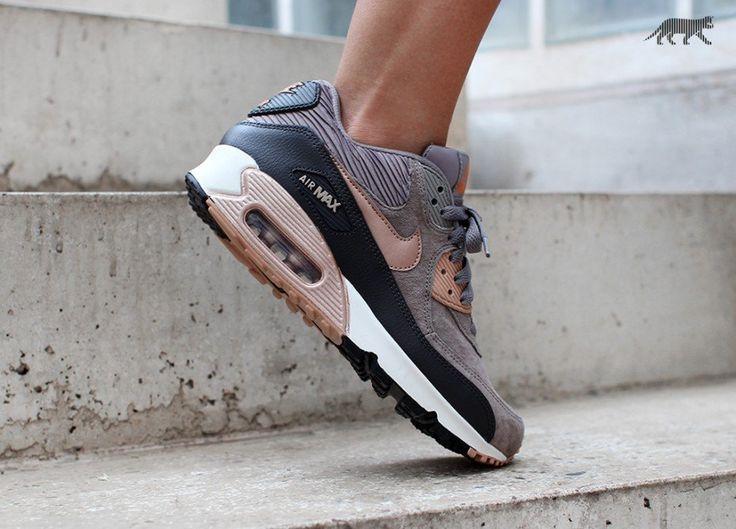Nike Wmns Air Max 90 LTHR (Iron / Metallic Red Bronze - Dark Storm -