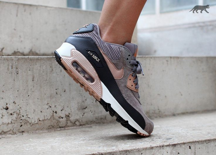 Nike Wmns Air Max 90 LTHR (Iron / Metallic Red Bronze - Dark Storm - Sail)