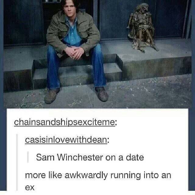 More like awkwardly running into an ex.. God I almost died of laughter.. Love you tumblr!! #samwinchester #supernatural