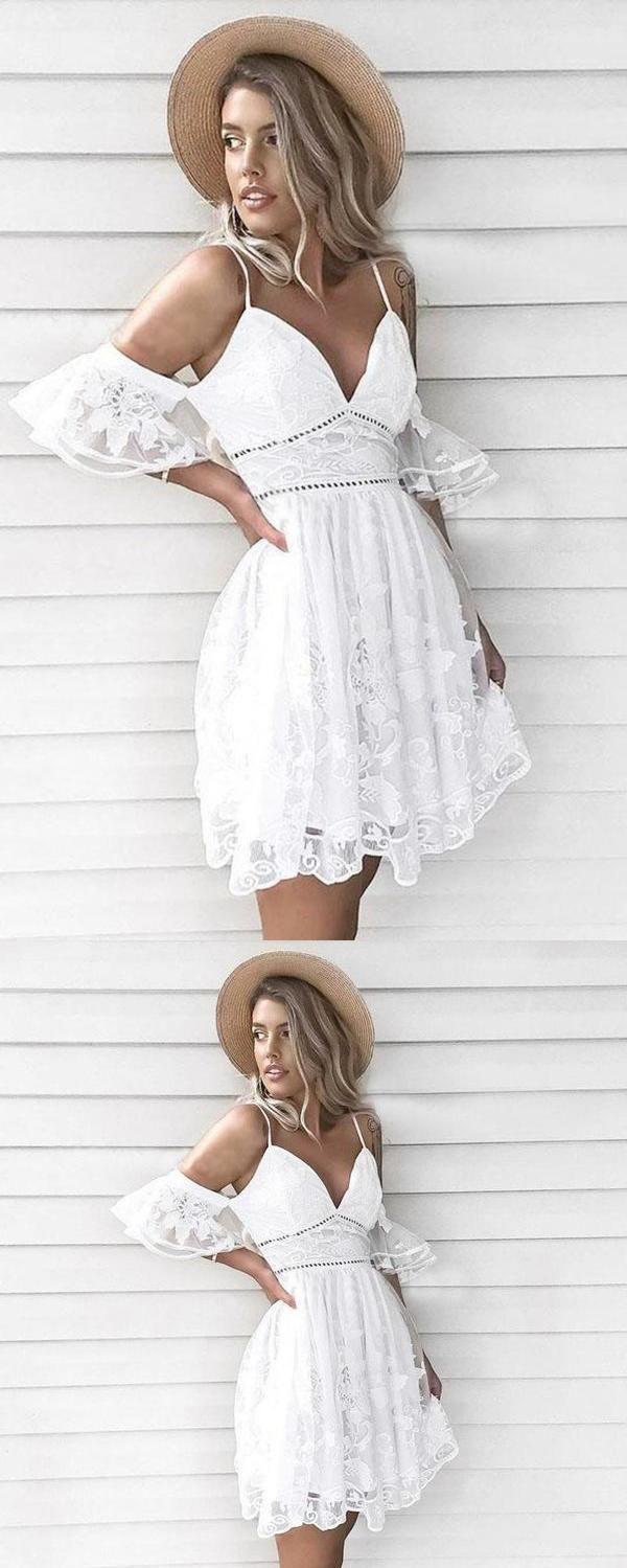 A Line Spaghetti Straps Short White Lace Homecoming Dress In 2021 Lace Homecoming Dresses Homecoming Dresses White Lace [ 1499 x 600 Pixel ]