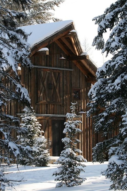 Snow covered barn: