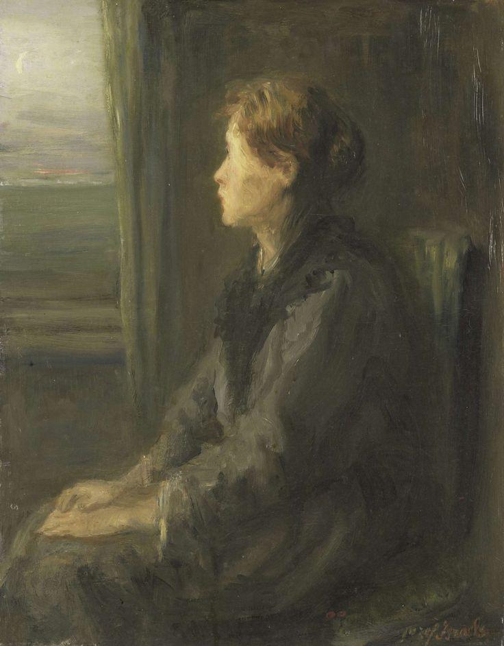 Vrouw aan een raam, Jozef Israëls, 1880 - 1911  olieverf op paneel, h 36,5cm × b 28,5cm.