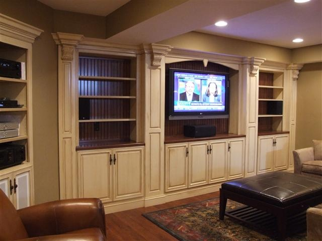 built in media cabinet with glazed cream color cabinets more traditional in detailing than i. Black Bedroom Furniture Sets. Home Design Ideas
