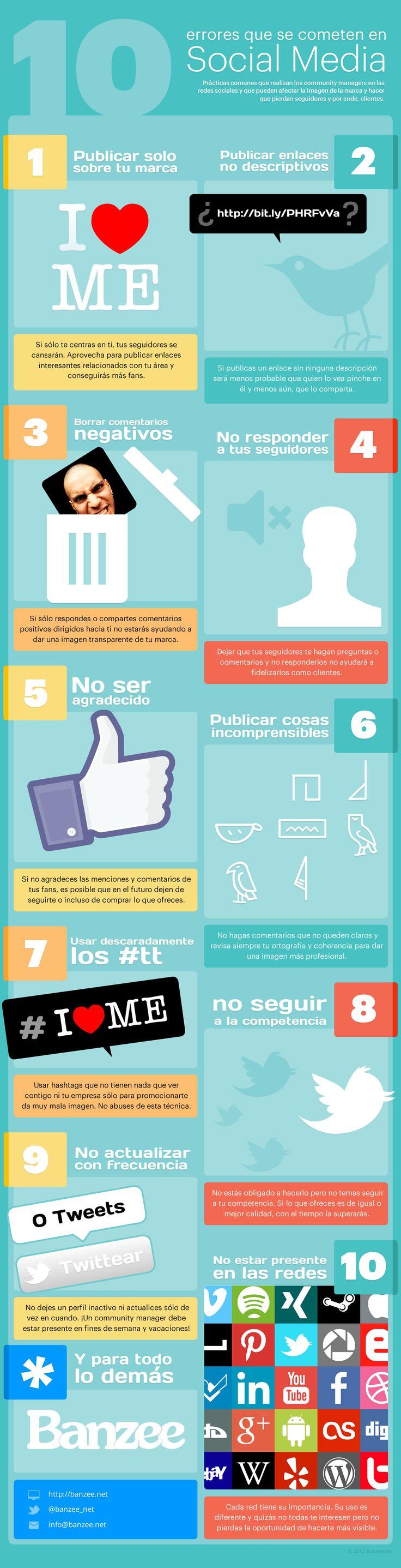 Infografía en español que muestra 10 errores que se comenten en Social Media