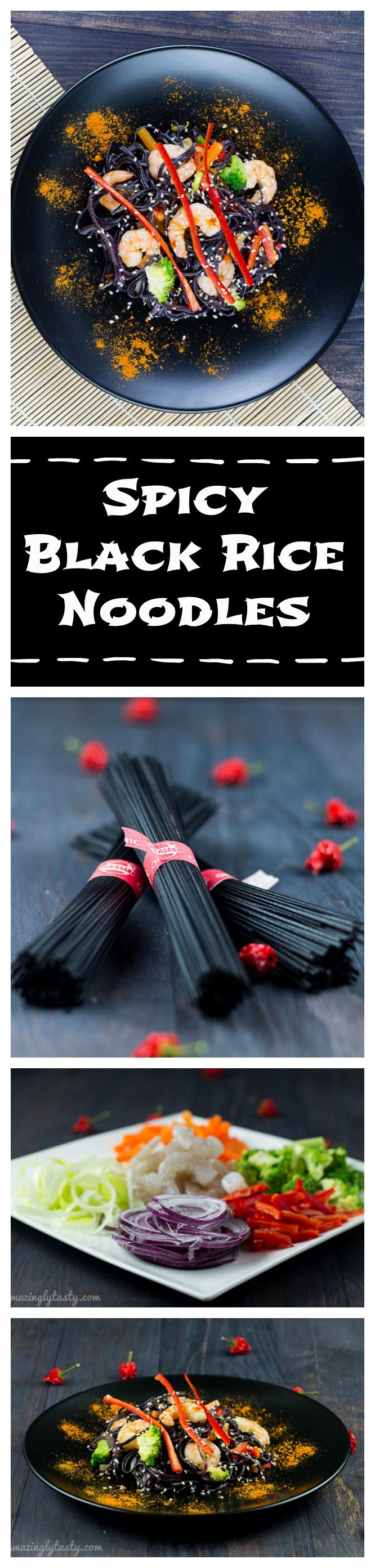 Spicy Black Rice Noodles with prawns and vegetables. It is easy to make and it tastes fantastic. It is gluten and dairy free.