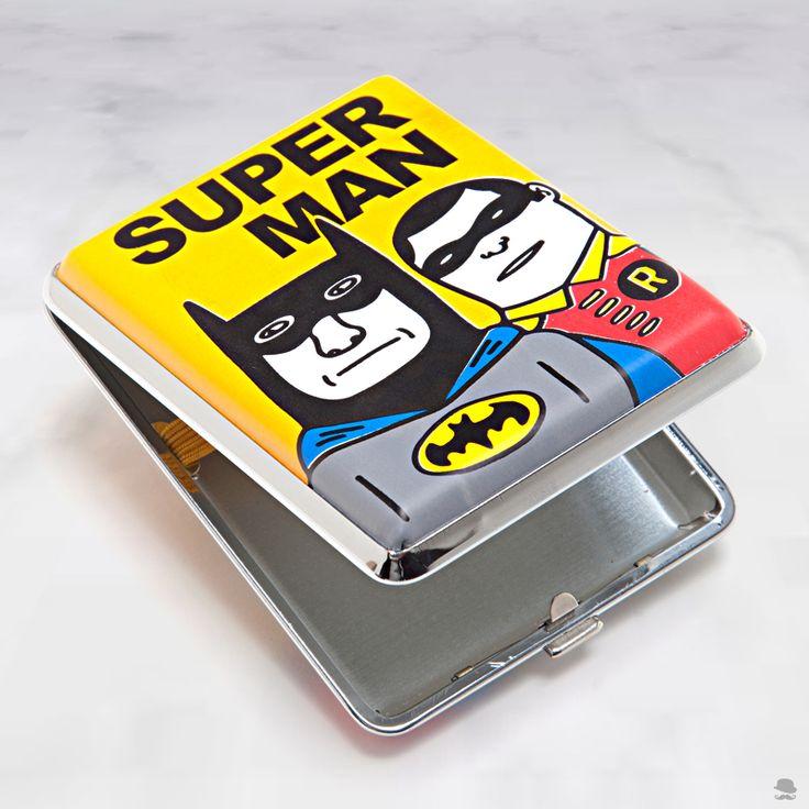 CIGARREIRA SUPER Cigarreira em metal amarela, Batman e Robin - 11 x 9 x 2 cm