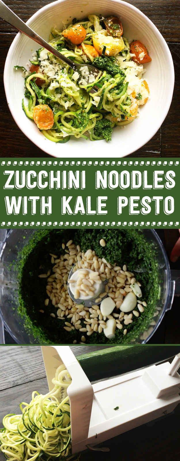 My new fave for meatless Mondays. Super easy zucchini noodles with kale pesto. Loads of flavor and healthy!