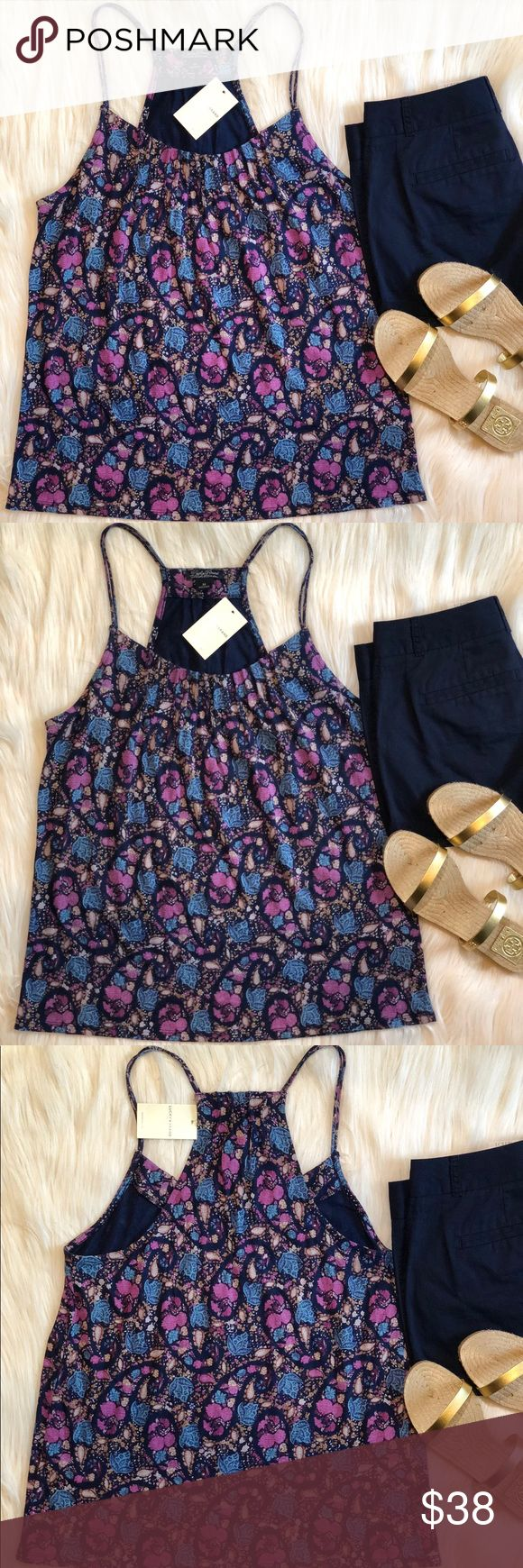 """🍀 LUCKY BRAND FLORAL STRAPPY TANK TOP SIZE: M NWT NEW WITH TAG!   🍀LUCKY BRAND TANK TOP SIZE: MEDIUM   DETAILS:  - SCOOP NECKLINE - FLORAL PRINT  - NAVY-FLORAL MULTI COLOR  BUST: 18""""  MEASUREMENT IS LAYING FLAT & APPROX.  Sandals & shorts are not included. Lucky Brand Tops Tank Tops"""