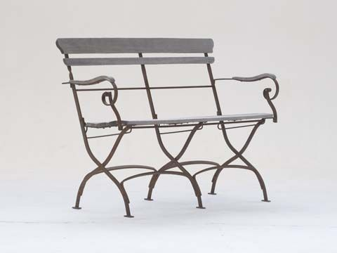 Florence Bench with Natural Timber Slats and Rust Finish Frame - Inside Out Home Boutique