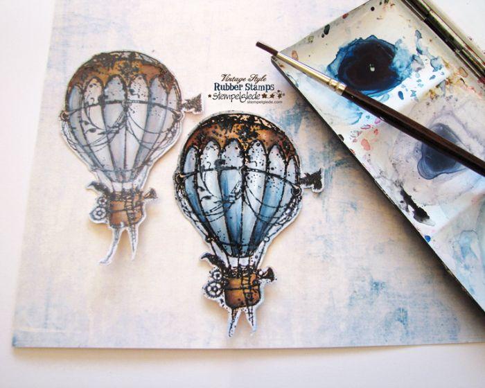 Steampunk Hot Air Balloon Coloring  - Gunhild J. G. Bay - Stempelglede :: Design Team Blog