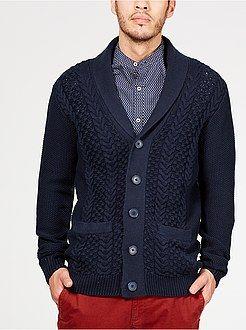 Jerséis, chaquetas de punto - Chaqueta de punto grueso con cuello esmoquin - Kiabi