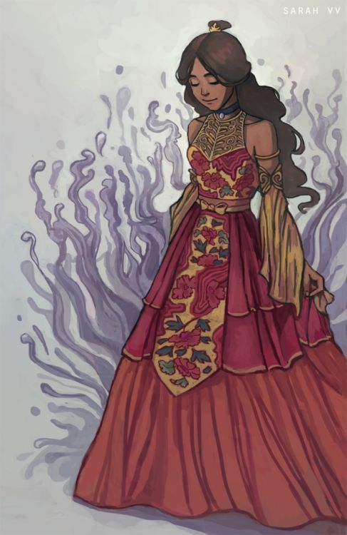 """sarah-vv: """" Zutara Week - Fire Lady For this topic, I was very excited to design a fire nation dress for Katara. When I was younger, I used to design fashion clothes for fun =p So it felt like revisiting an old passion. I focused on some asian..."""