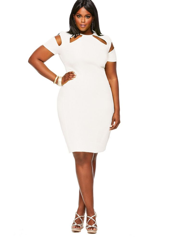 Monif C Plus Sizes Spring 2014 Sherrie Dress in White on The Curvy Fashionista