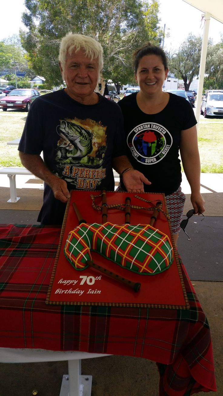 My Bagpipe Cake, Me & the birthday boy. Tartan Green Red Bagpipes.