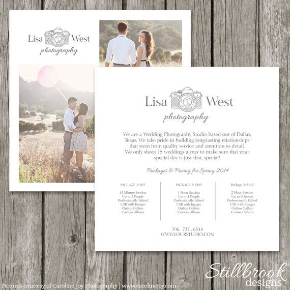 Photography Marketing Price List Template Card - Logo Studio Pricing Guide for Photographers - Advertising Price Sheet Flyer - MC05