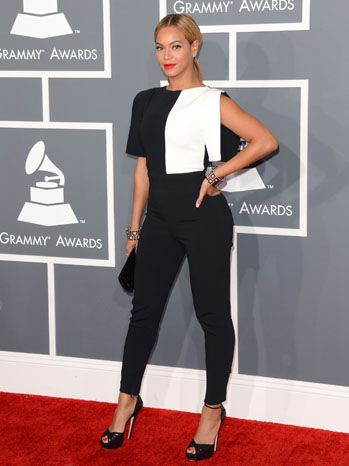Beyonce in an black-and-white Osman jumpsuit