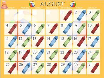 August Calendar for Mimio