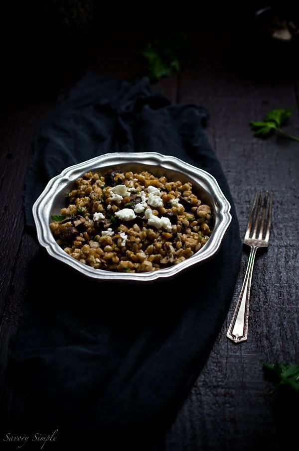 Farro with Cremini Mushrooms, Walnuts and Feta is a satisfying vegetarian lunch or side dish. | Savory Simple