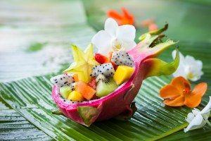 recette de Noël de salade de fruits exotiques