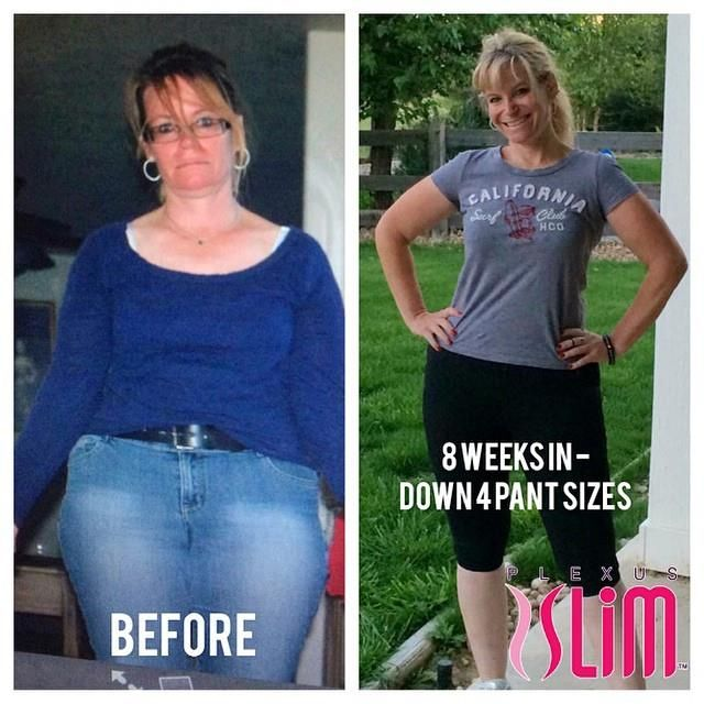 Plexus - 8 weeks, 4 pants sizes down.  Bam!!