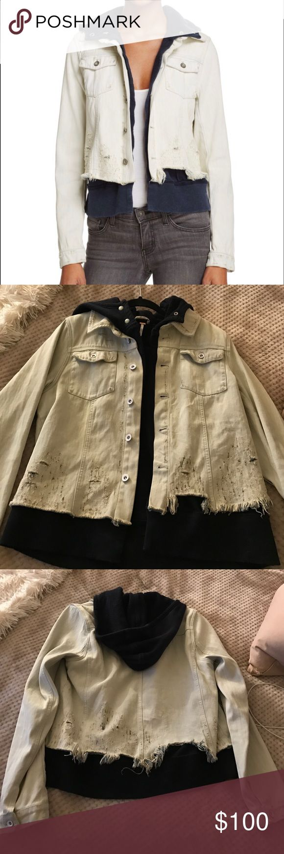 Free People Distressed Denim Jacket Spring 2017 Free People denim jacket with navy sweatshirt lining and hood. Only worn once in very good condition! Bought size larger for a grunge trend look. Free People Jackets & Coats Jean Jackets