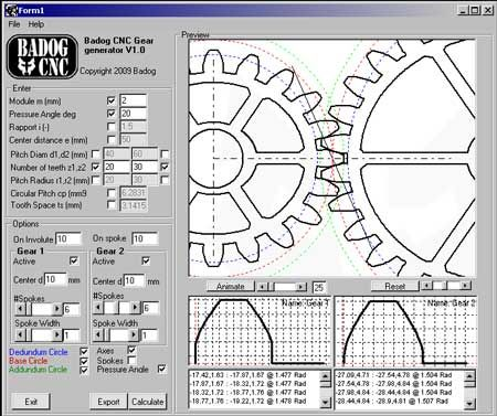 Badog Gear designer allows you to easily add standard or custom gears to your CNC project. The gear models created are standard DXF models that can be added to your assembly drawing or 2D entities. You can also automatically import into the Badog Software and cut yourself the gears you made. It is like having a virtual gear factory on your computer that can create real and precice spur gears from your data input.You just select the pitch, pressure angle, number of teeth, width, and insertion…