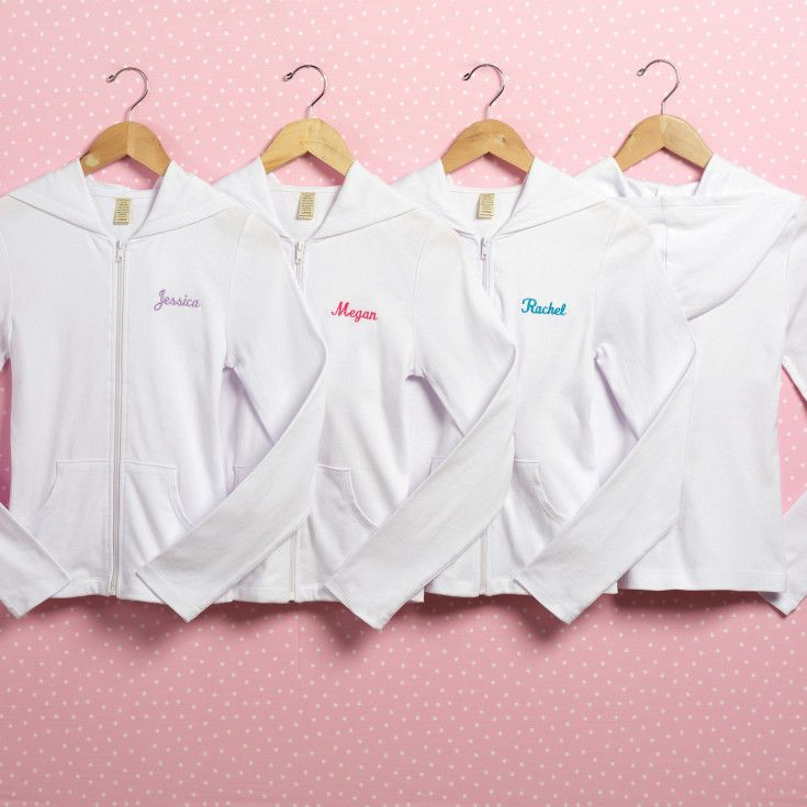 Exclusively Weddings Personalized White Hoodie. Personalize this 100% cotton white hoodie with your new married name and your bridesmaids' names.