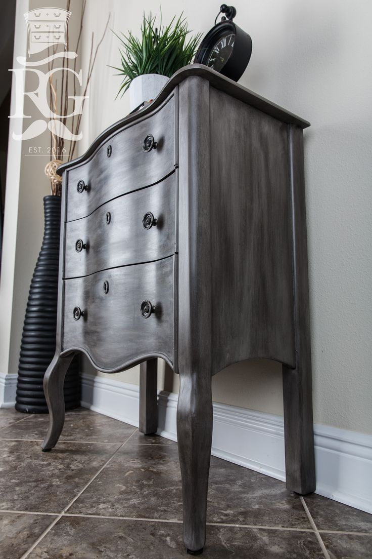 "Hand painted Night Stand in a finish I call ""French Night"" which is Annie Sloan Chalk Paint, French Linen finished with Clear Wax and Black Wax.    https://www.facebook.com/refurbishedgentleman/  The step by step instructional video can be seen on Furniture Painting University. http://furniturepaintinguniversity.com/2017/"